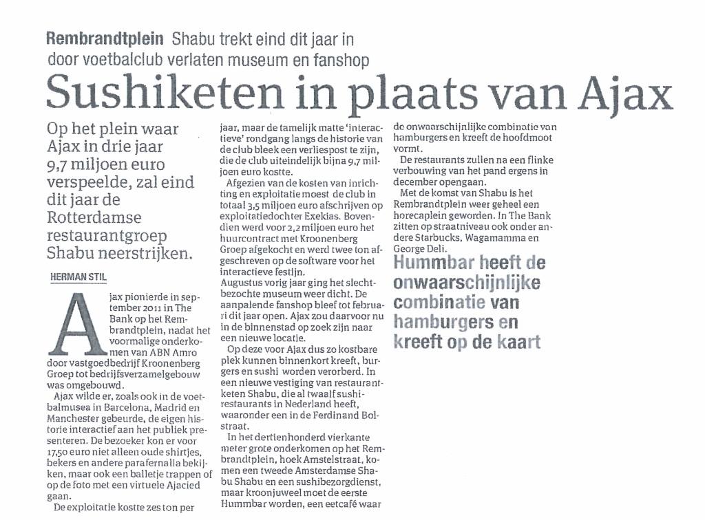 sushiketen in plaats van Ajax